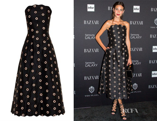 Alexa Chung's Osman Embroidered Silk Strapless Dress