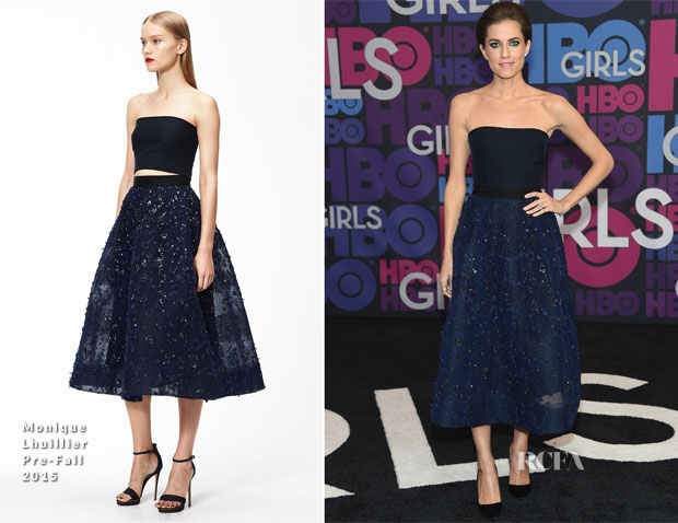 Allison Williams In Monique Lhuillier - 'Girls' Season Four Premiere