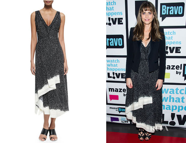 Amanda Peet's Proenza Schouler Sleeveless Dotted Ruffle-Hem Dress