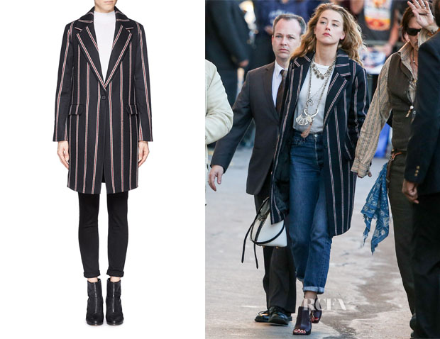 Amber Heard's Elizabeth and James Striped Iris Boyfriend Coat