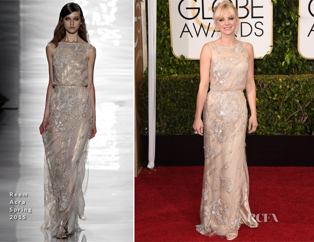 Anna Faris In Reem Acra - 2015 Golden Globe Awards