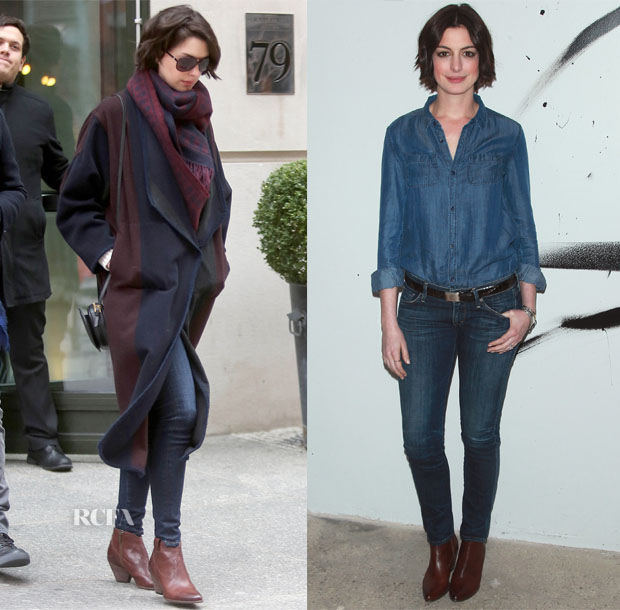 Anne Hathaway In Etro, Aritzia & Citizens of Humanity - AOL Build Speaker Series