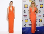 Ashley Roberts' AQ/AQ Mega Orange Red Halterneck Maxi Dress
