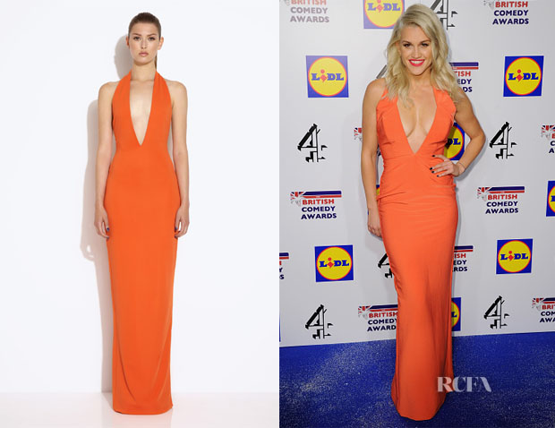 Ashley Roberts' AQ AQ Mega Orange Red Halterneck Maxi Dress