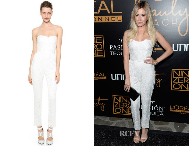 Ashley Tisdale's Monique Lhuillier Paige Lace Jumpsuit