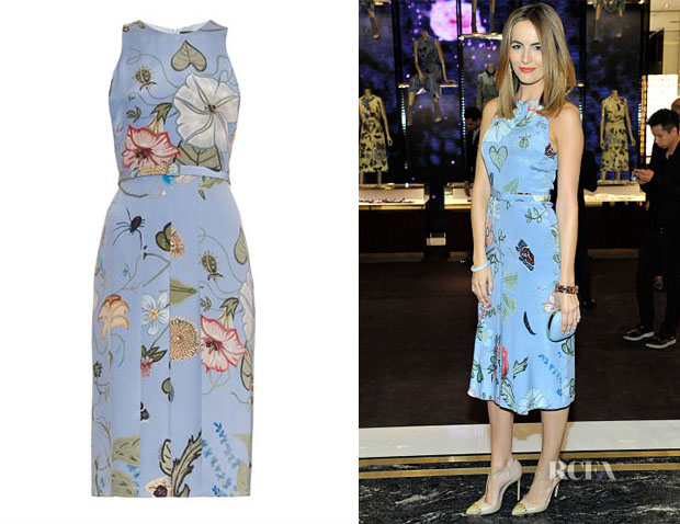 Camilla Belle's Gucci Floral Knight-Print Silk-Cady Dress