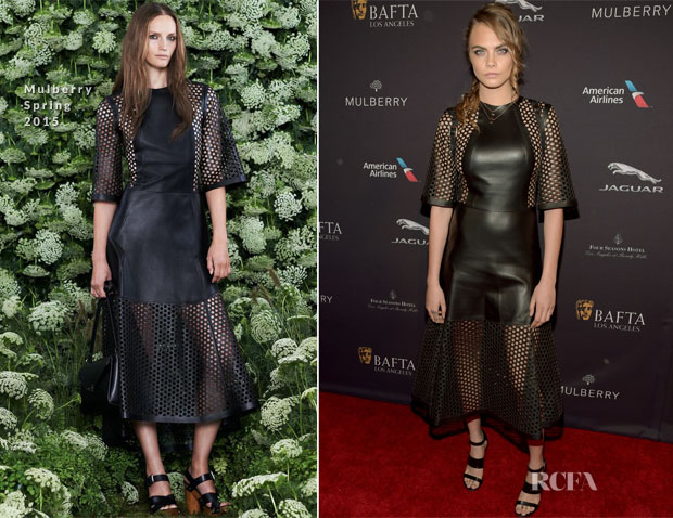 Cara Delevingne In Mulberry - 2015 BAFTA Tea Party