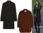 Cheryl Fernandez-Versini's The Row Fessing Coat & R13 Oversized Plaid Wool Shirt