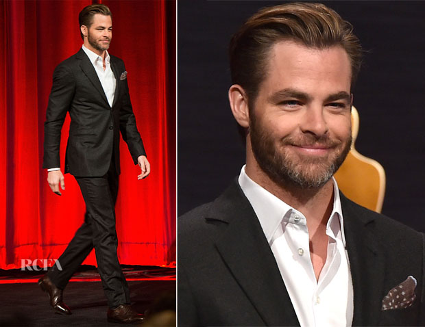Chris Pine In Giorgio Armani - 87th Academy Awards Nominations Announcement