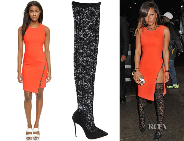Christina Milian's Milly Cady Zipper Dress & Dolce & Gabbana Kate Floral Lace Over-The-Boots
