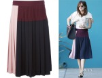 Dakota Johnson's DKNY Pleated Colour-Block Skirt
