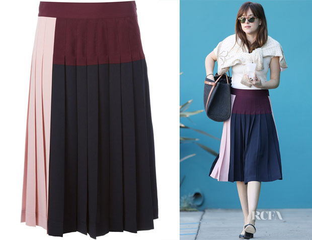 Dakota Johnson's DKNY Pleated Colour-Block Skirt 2