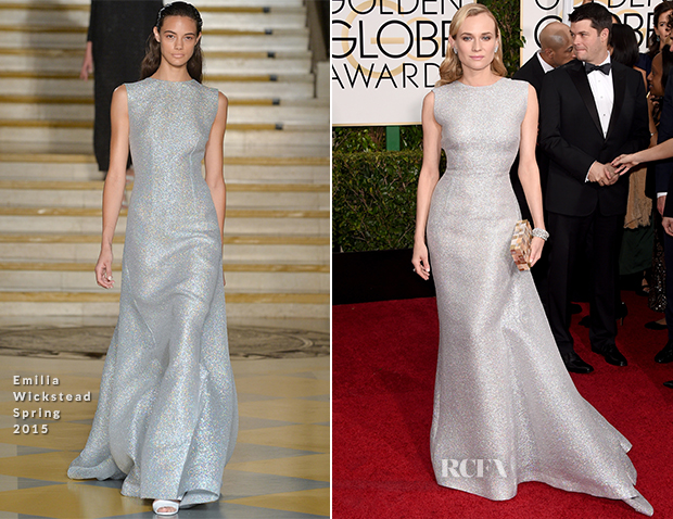 Diane Kruger In Emilia Wickstead - 2015 Golden Globe Awards