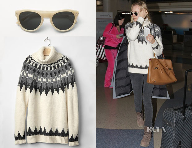 Diane Kruger's Rag & Bone Keaton Sunglasses & Gap Oversize fair isle turtleneck sweater2