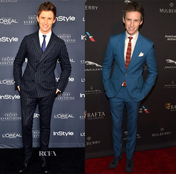 Eddie Redmayne In Gucci & Alexander McQueen – InStyle's Golden Globe Nominations Party & 2015 BAFTA LA Tea Party2