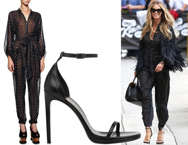 Elle Macpherson's Stella McCartney Sheer Polka Dot Jumpsuit & Saint Laurent Jane Sandals
