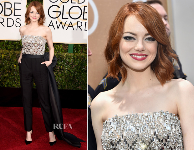 Emma Stone In Lanvin - 2015 Golden Globe Awards