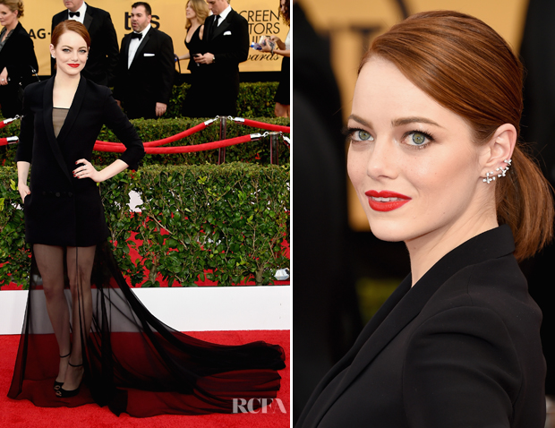 Emma Stone In Christian Dior Couture - 2015 SAG Awards