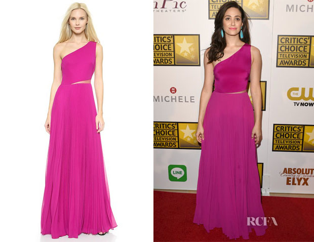 Emmy Rossum's  Monique Lhuillier One Shoulder Pleated Gown