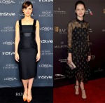Felicity Jones In Alexander McQueen & Erdem - InStyle's Golden Globe Nominations Party & 2015 BAFTA LA Tea Party