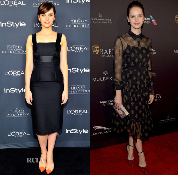 Felicity Jones In Alexander McQueen & Erdem - InStyle's Golden Globe Nominations Party & BAFTA Tea Party