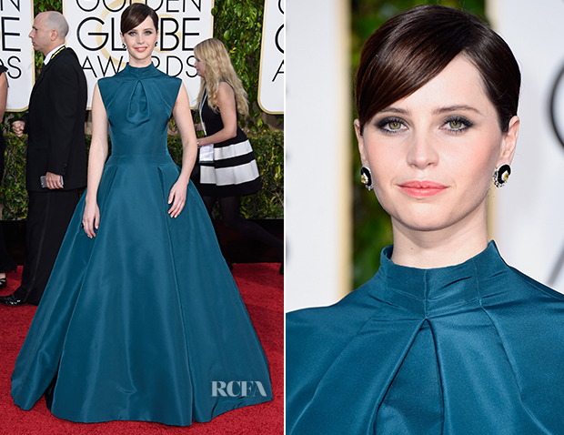 Felicity Jones In Christian Dior Couture - 2015 Golden Globe Awards