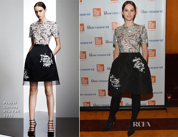 Felicity Jones In Prabal Gurung - 2015 Film Comment Luncheon