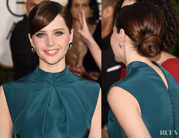 Get The Look Felicity Jones'  Sophisticated Golden Globe Awards Updo