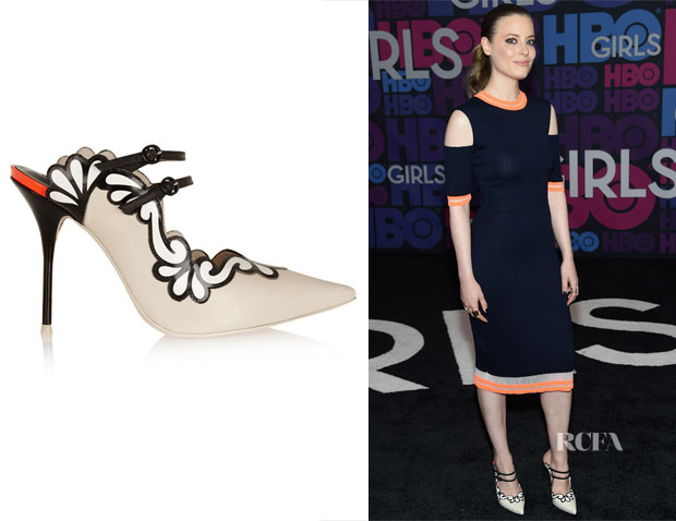 Gillian Jacobs' Sophia Webster Sariya neon-trimmed leather mules