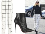 Gwen Stefani's Chloé Checked Crepe Straight-Leg Pants & Christian Louboutin Snakilta 120 Spiked Leather Ankle Boots