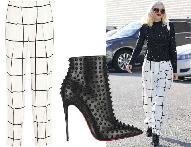 Gwen Stefani's Chloe Checked crepe straight-leg pants & Christian Louboutin Snakilta 120 spiked leather ankle boots