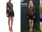 Gwyneth Paltrow's Michael Kors Beaded Lace Tiered-Skirt Dress