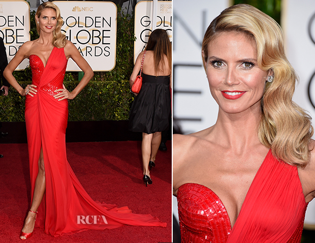 Heidi Klum In Versace - 2015 Golden Globe Awards