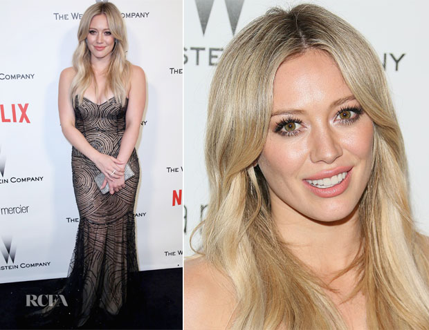 Hilary Duff In Rani Zakhem Couture - Weinstein Company and Netflix 2015 Golden Globes After Party