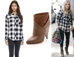 Hilary Duff's Rails Hunter Button Down Shirt & IRO Kasey Cone Heel Booties