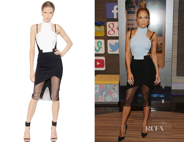 Jennifer Lopez's David Koma Two-Tone Jersey Cady Dress