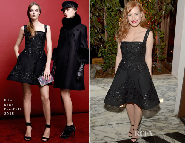 Jessica Chastain In Elie Saab - Audi Celebrates Golden Globes Week 2015