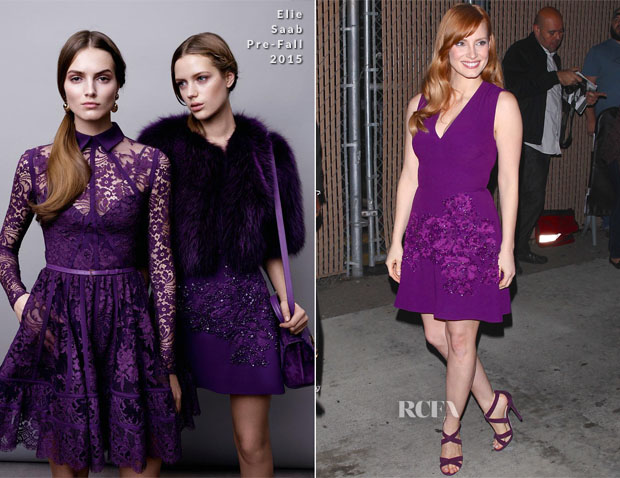Jessica Chastain In Elie Saab - Jimmy Kimmel Live