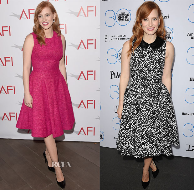 Jessica Chastain In Lela Rose & Michael Kors - 2015 AFI Awards & 2015 Film Independent Filmmaker Grant and Spirit Awards Nominees Brunch