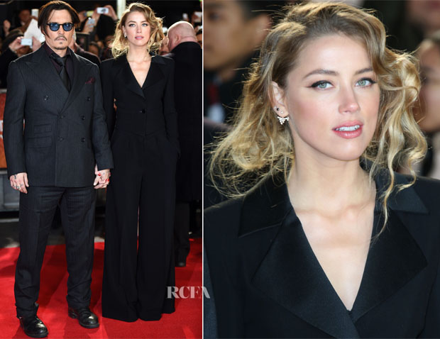 Johnny Depp In Ralph Lauren Purple Label & Amber Heard - 'Mortdecai' London Premiere