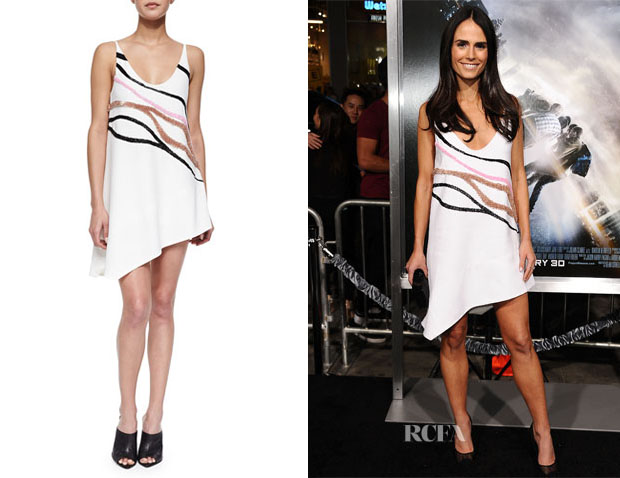 Jordana Brewster's Narciso Rodriguez Wave-Embroidered Asymmetric Shift Dress