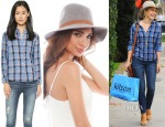 Julianne Hough's Madewell Blue Plaid Cozy Shirt & Janessa Leone Rhonda Hat