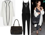 Kate Beckinsale's Mason by Michelle Mason Leather-Like Trim Long Cardi, Givenchy Pepe Pandora Messenger & Mason by Michelle Mason Chiffon-Paneled Silk-Georgette Jumpsuit