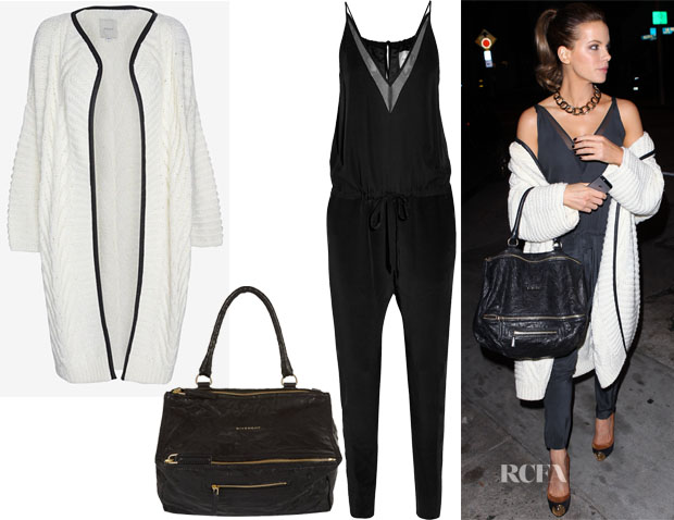 Kate Beckinsale's Mason by Michelle Mason Leather-Like Trim Long Cardi, Givenchy Medium Pepe Pandora Messenger & Mason by Michelle Mason Chiffon-paneled silk-georgette jumpsuit
