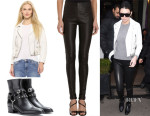 Kendall Jenner's Acne Studios Scratch Vintage Leather Mock Jacket, Saint Laurent Wyatt Leather Ankle Boots & Balenciaga Leather Leggings