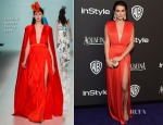Lea Michele In Emanuel Ungaro - 2015 InStyle and Warner Bros. Golden Globe Awards Post-Party