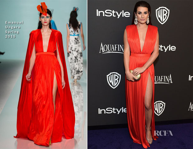 Lea Michele In Emanuel Ungaro - 2015 InStyle and Warner Bros Golden Globe Awards Post-Party