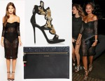 Leigh-Anne Pinnock's ASOS Lace Off The Shoulder Dress, Lulu Guinness Naomi Clutch & Giuseppe Zanotti  Suede & Crystal Leaf Sandals