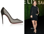 Lily Colllins' Christian Louboutin Follies Resille 100 Suede-Trimmed Mesh Pumps