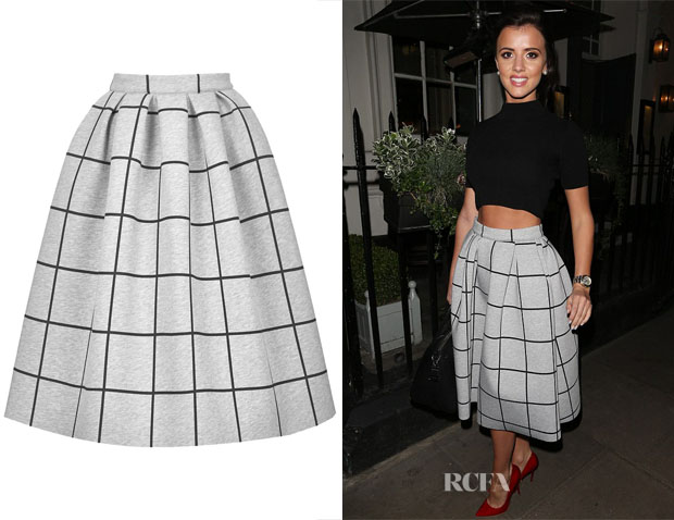 Lucy Mecklenburgh's Topshop Grid Print Bonded Midi Skirt